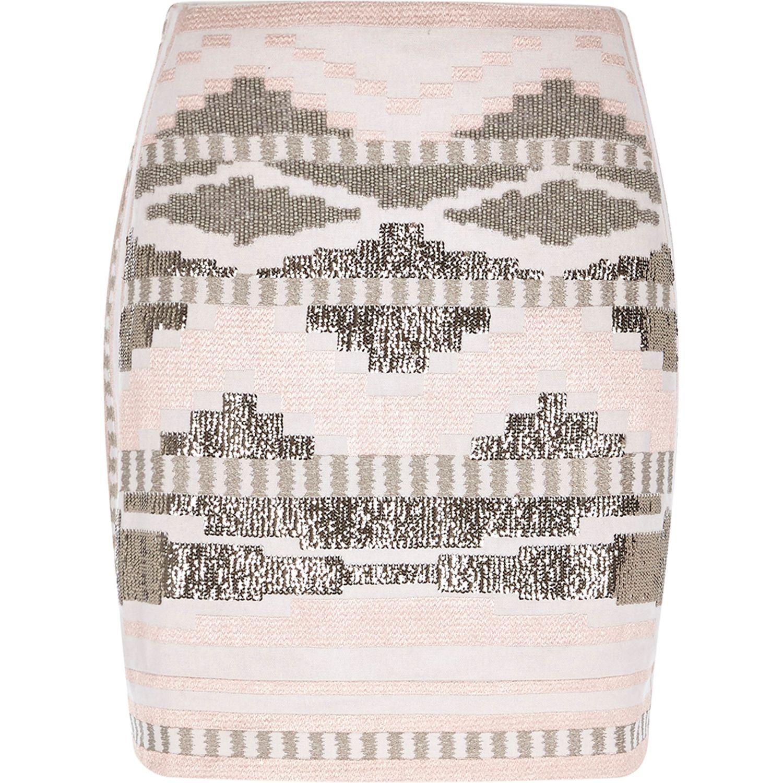 Pink aztec print woven mini tube skirt