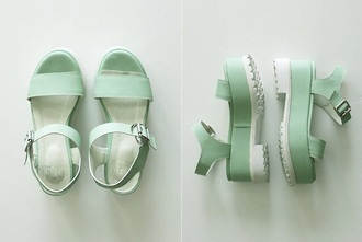 shoes mint sandals wedges strappy sandals straps buckle green mint green sandals green sandals bread and butter