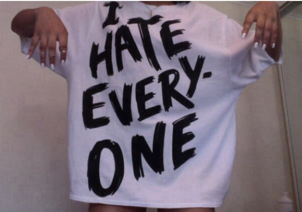 shirt quote on it sweater skirt i hate everyone gangsta cool punk b&w t-shirt