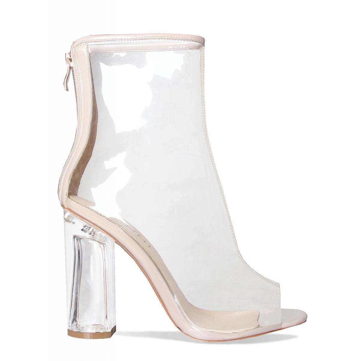 60dd639d5da Melissa Nude Peep Toe Perspex Heel Ankle Boots   Simmi Shoes