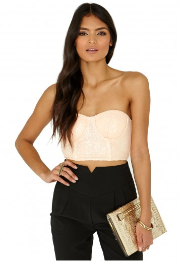 Missguided - Staccey Premium Sequin Bralet In Nude