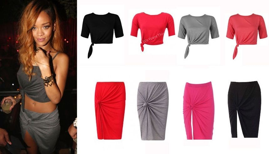 Ladies red black grey knot pencil style jersey skirt celeb inspired size 8 14