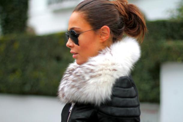 Jacket: fur, perfecto, leather, black, white, grey, fashion ...
