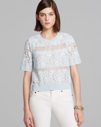 Rebecca Taylor Top - Short Sleeve Patch Lace | Bloomingdale's