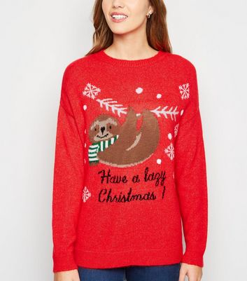 Red Lazy Sloth Slogan Christmas Jumper | New Look