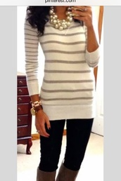 sweater,white,striped sweater,style,stripes,preppy,top,jewels,dress,sweater dress,grey and white stripped,bracelets,rhinestones