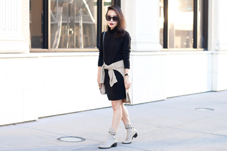 it's not her it's me blogger ankle boots sweater dress