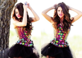 dress selena gomez black rainbow cute short selena gomez orange dress short neon yellow dress strapless bow cute
