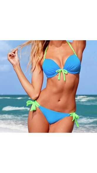 swimwear bikini blue swimwear light blue light green