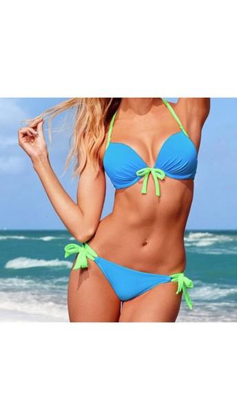 swimwear bikini blue swimwear light blue light green