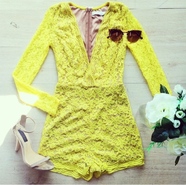 romper yellow dress lace long sleeves cute trendy v neck jumper sweater dress lace dress summer outfits summer dress
