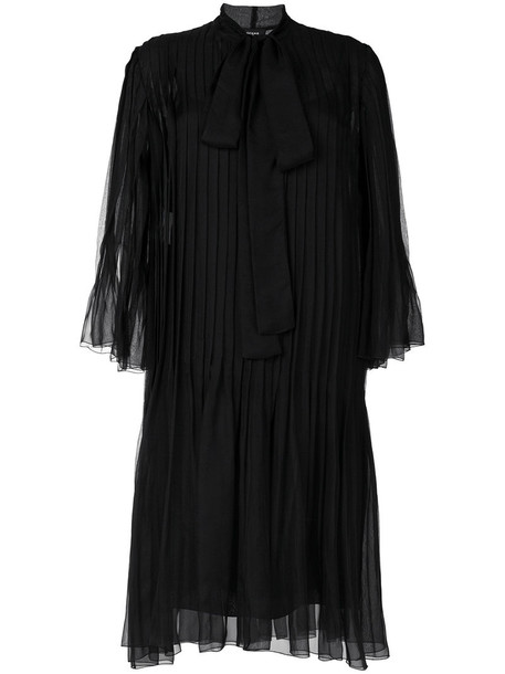 Rochas dress pleated women black silk