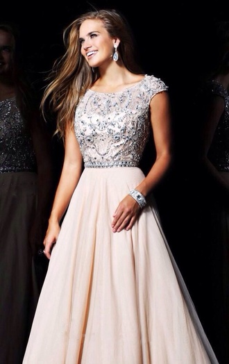 dress prom dress prom dresses 2015 nude long dress long prom dress beaded dress sherry hill wedding dress maide dress white champagne dress