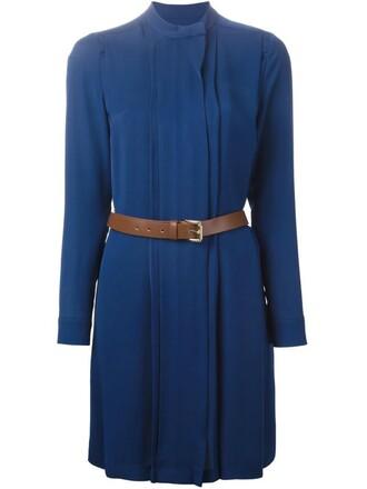 dress shirt dress women blue silk
