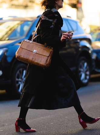 coat tumblr black coat skirt black skirt midi skirt black leather skirt leather skirt shoes red shoes mid heel sandals tights opaque tights bag brown bag scarf fashion week 2017 streetstyle