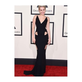 dress black long miley cyrus