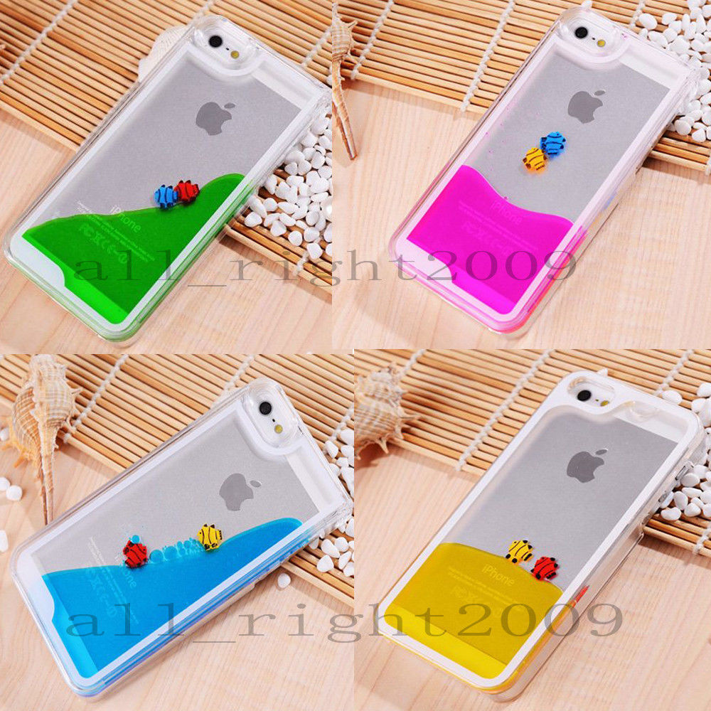 New Floating Fish Running Sand Liquid Dynamic Hard Case Cover For iPhone 4 4G 4S