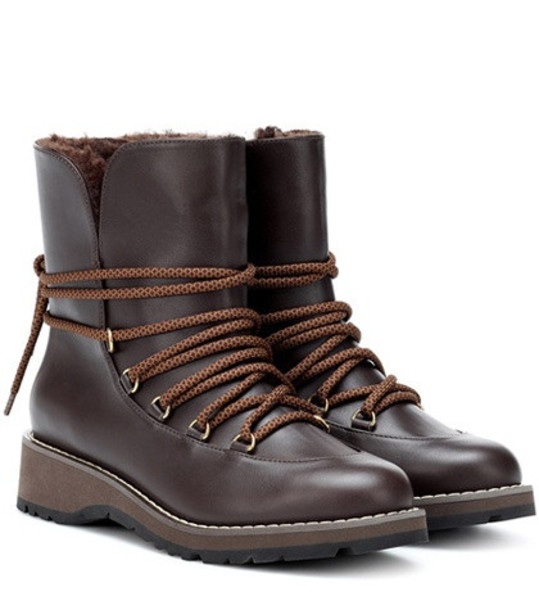 Max Mara Calle leather ankle boots in brown