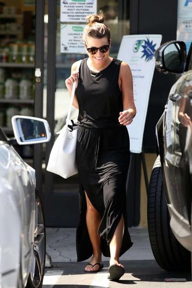 lea michele black dress bag maxi dress shoes sunglasses
