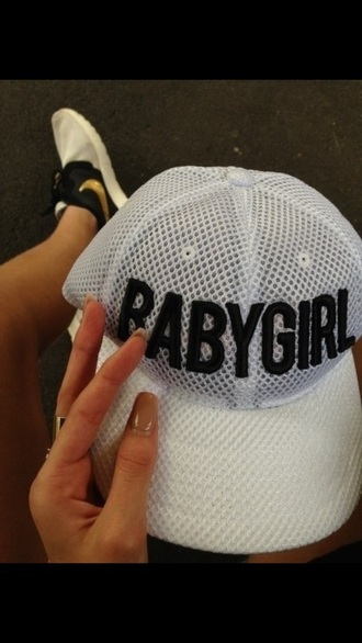 hat white hat white with black letters black letters black and white black hat baby girl babygirl hat