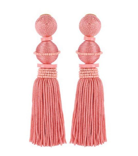 oscar de la renta earrings pink jewels