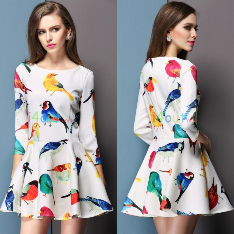 Half Sleeve Birds Digital Printed Dress
