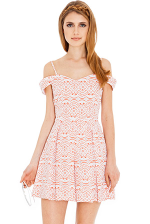 Off shoulder lace double layer dress