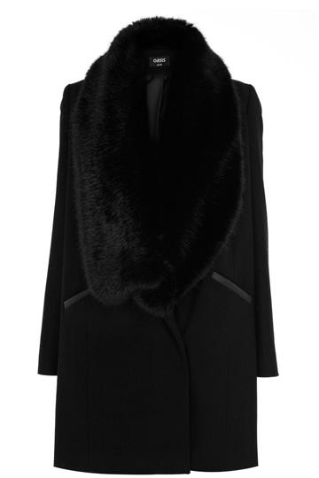 Faux Fur Collar Coat | Black | Oasis Stores