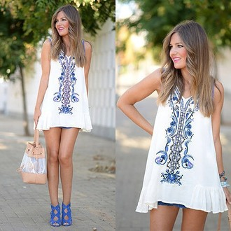 dress choies blue printed dress white dress