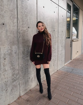 jessica r. hapa time - a california fashion blog by jessica blogger sweater shoes bag sweater dress thigh high boots boots over the knee boots winter outfits gucci bag