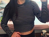 top,crop tops,black and white,striped shirt,topshop,topshop black