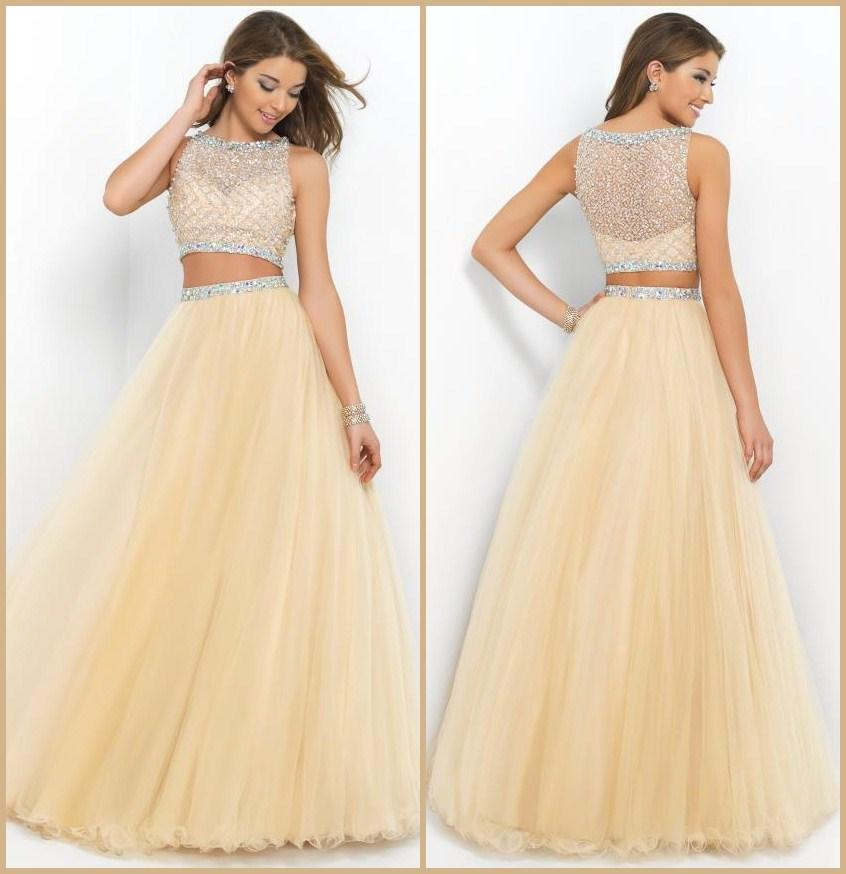 Discount 2015 Champagne Two Piece Long Prom Dresses Beaded Bateau Neck Sleeveless A-Line Floor-length Organza Formal/Evening Gowns Online with $125.25/Piece | DHgate