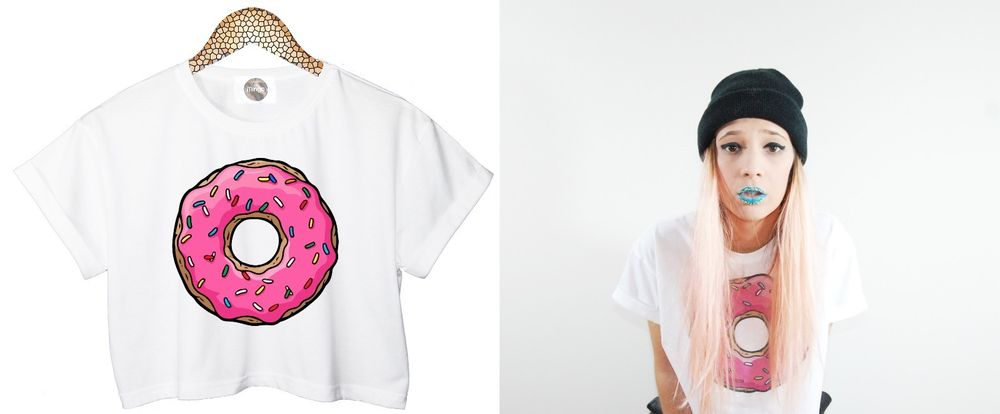 PINK DONUTS CROP TOP T SHIRT CANDY SWEET SUGAR HIPSTER FUNNY TUMBLR SWAG STYLE