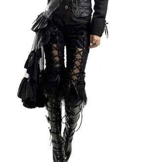 laced wet-look boots goth pants