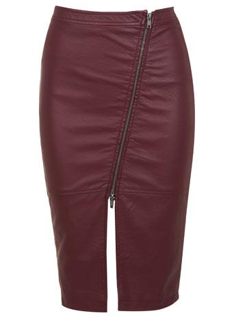 Leather Effect Burgundy Skirt - Skirts  - Clothing  - Miss Selfridge