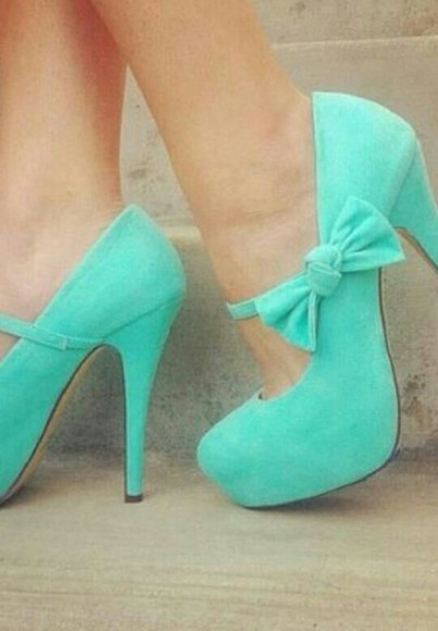 shoes high heels green shoes shoes with bows mary janes torquise
