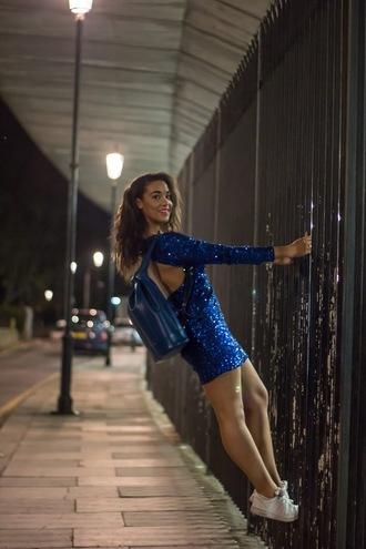 pbth blogger mini dress sequin dress blue dress
