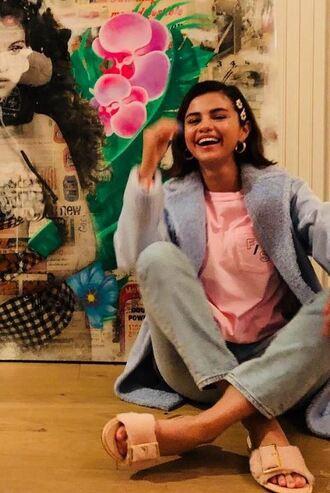 t-shirt top jeans instagram denim selena gomez blazer jacket slide shoes spring outfits shoes