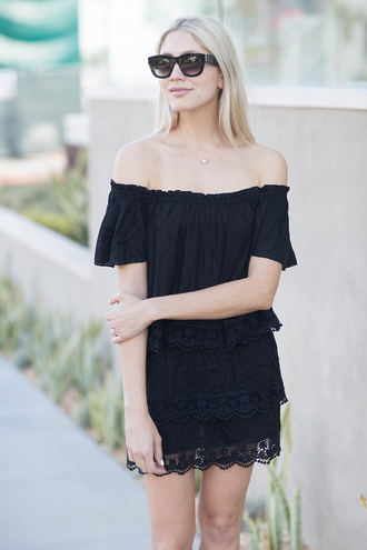 modern ensemble blogger blouse skirt jewels shoes sunglasses off the shoulder black dress black off shoulder dress off the shoulder dress mini dress summer dress summer outfits short dress black sunglasses black lace dress lace dress necklace summer black dress