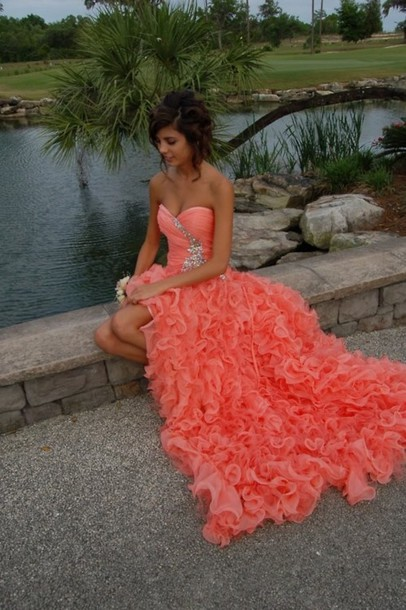 dress prom dress prom coral pink ruffle maxi dress red dress grad diamonds ruffles this color exact ally like this! orange ruffled coral dress red, orange, flowy waves, long peach