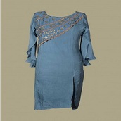 top,organic cape sleeved kurta with hand embroidery