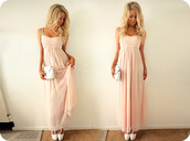 dress,maxi dress,pink dress,pink,love,nice dress,light pink,light pink dress,sweet dress,prom dress,bag,blonde hair,girl,maxi,long,chiffon,pretty,clutch,hair accessory,blouse,light pink prom dress,cute dress,prom,perfect,wavy,white,rose,light coral/pink romantic summer dress