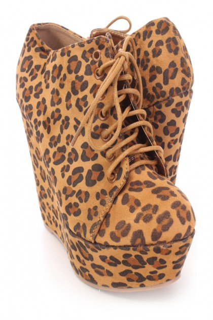 Leopard lace up oxford wedge booties faux suede