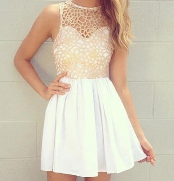 dress little white dress cream cream dress flowy dress crochet crochet top dress white dress lace lace dress white cute short dress prom homecoming mesh gold skater netted detailed neckline white beautiful amazing love prom dress help me!! fancy dress sparkles
