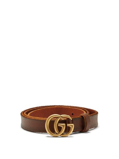 Gucci - Gg Logo 2cm Leather Belt - Womens - Tan