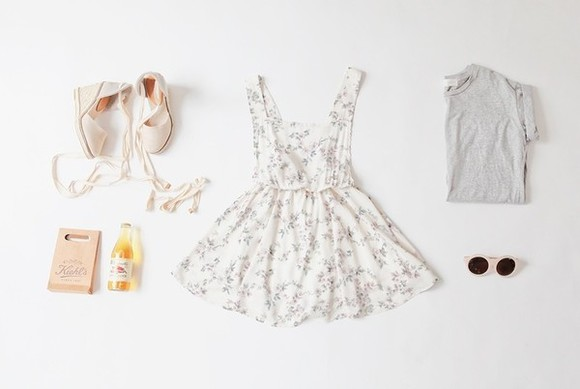 dress grey t-shirt top shoes wedges white dress floral dress white sunglasses