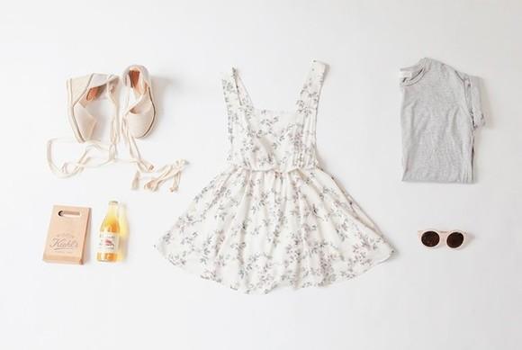 top grey t-shirt shoes dress wedges white dress floral dress white sunglasses