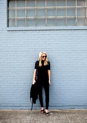 krystal schlegel,blogger,dress,shoes,jacket,jeans,bag,top,belt,t-shirt,black t-shirt,black top,short sleeve,black jeans,slide shoes,black slides,hermes,hermes shoes,black bag,shoulder bag,all black everything,aviator sunglasses