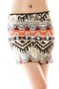 Winter new tribal aztec sequin mini skirt rust s m l