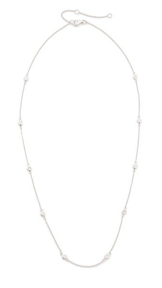 clear necklace gold white jewels